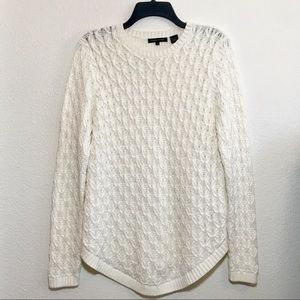 White cable knit Jeanne Pierre Light Sweater med